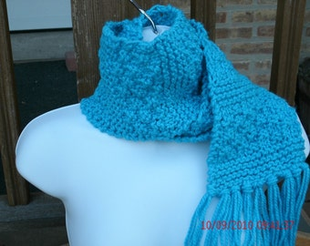 Knit Scarf, Hand Knit Scarf, Block Scarf in Blue, Winter Scarf, Mens Scarf, Womens Scarf, Long Scarf, Knit Accessories, Blue Scarf