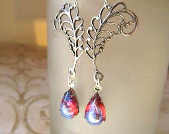 Dragons Breath Opal Earrings Fire Opal Earrings Silver Gothic Earrings Art Nouveau Jewelry Fantasy Dangle-Heat