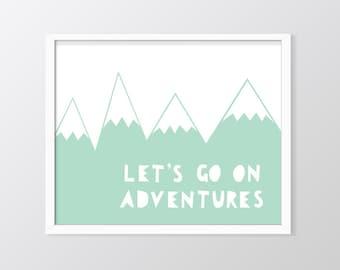 Mint Nursery Wall Art Printable, Let's Go On Adventures Print, Mountains Art, Mint Green Decor, Mint print, Nursery Decor, Nursery Prints