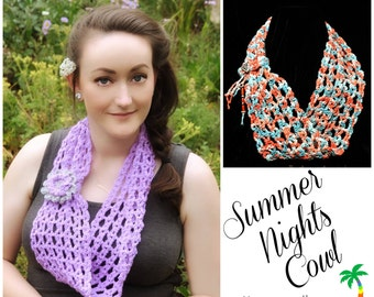 Crochet Pattern Cowl Infiniti Scarf, Summer Nights Lace PDF 14-148 INSTANT DOWNLOAD