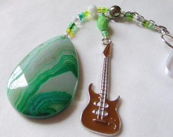 Gemstone window sun catcher - green agate guitar charm - Musician gift -  rear view mirror - Rock band memento -  car charm - Boyfriend gift