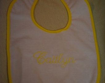 Caitlyn Embroidered Yellow Edged Terry Velour Baby Bib