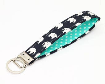Cute Key Strap, Tiny Elephant Fabric Key Chain Wristlet, Keyring, Animal Key Fob - turquoise and white polka dot elephants in black