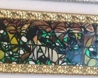 Gold frame painting on glass