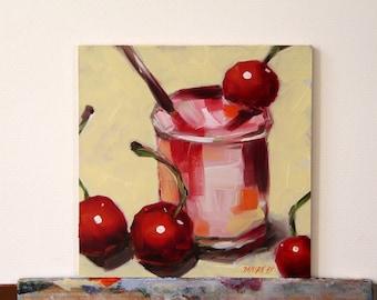 Cherries original still life oil painting, still life art, boba painting