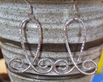 Silver Hammered Earrings, hammered aluminum earrings, aluminum jewelry, wire wrapped, silver aluminum, wire swirl earrings, lightweight