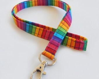 Rainbow Lanyard / Stripes / Keychain / Colorful Lanyard / Pretty Lanyards / Key Lanyard / ID Badge Holder / Rainbows / School Supplies