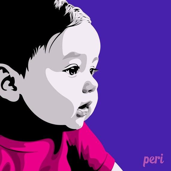 Photo Designer To Add Artist: Pop Art Portrait-Custom Portrait-Custom Baby-Personalized Baby
