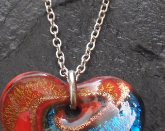 Rainbow Swirled  Glass Heart