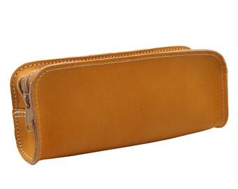 Stiftemappe-Schlamperrolle Kira made of leather in cognac brown-handmade in Germany