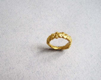 24ct gold vermeil carved rock ring