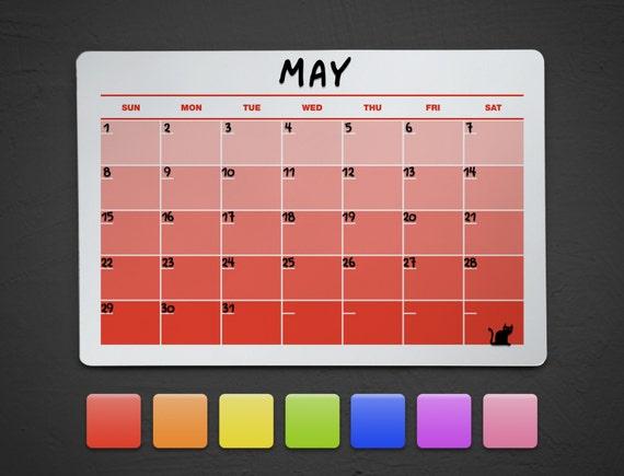 Dry Erase Calendar Canada : Red dry erase acrylic calendar wall