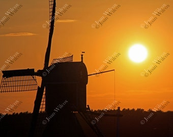 Sunset Windmill Over Hoogmade Holland Netherlands Dutch Countryside Fine Art Photography Photo Print