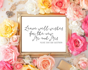 Wedding Sign, Printable Wedding Signage, Wedding Decor, Instant Download, Leave Well Wishes for the Mr and Mrs, Print at Home 8x10