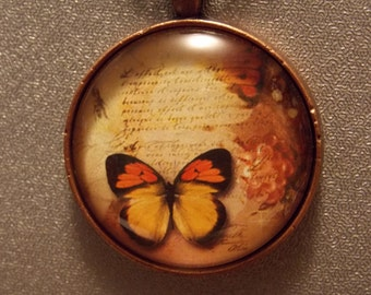 Glass Pendant Necklace - Autumn Butterflies