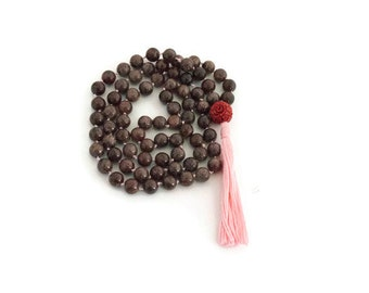 Pink tassel necklace - brown bead necklace - long tassel necklace - yoga jewelry - gifts under 40 - jewelry canada