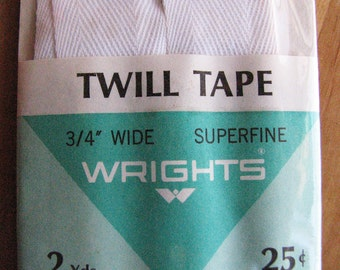 Vintage Twill Tape in Original Packaging, Wrights Sewing Notions, 1969