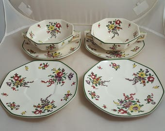 Royal Doulton Old Leeds Sprays 2 Cream Soup 4 Saucers