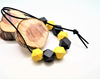 Kit necklace, suede cord black 1 m, 8 polygons black, yellow 20 mm