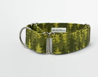 Trees in the Forest Dog Collar - Martingale Collar or Side Release Buckle Collar -   Camping Dog Collar, tress in shades of green