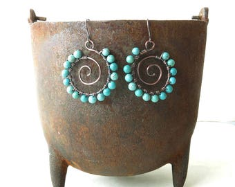 Turquoise spiral earrings - stone beads, copper wire wrapped hoops