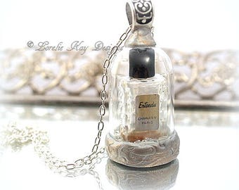 Miniature Paris Perfume Bottle Necklace Dome Bottle Under Glass Jewelry Mixed Media One-of-a-Kind Assemblage Pendant