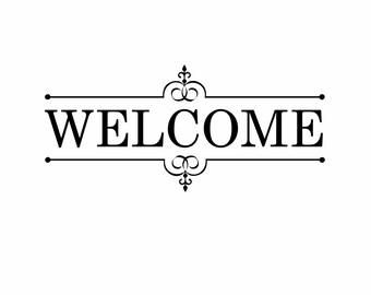 Home window decal vinyldoor welcome sign house front door fancy