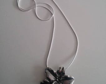 New orchid necklace, Vintage pendant with new chain