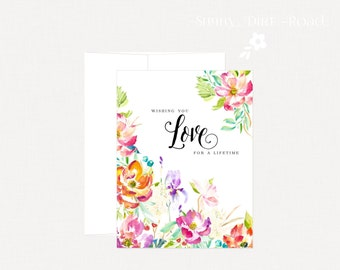 LOVE Wedding Card Congratulations, Engagement Card, Anniversary Card, Floral Wedding Card