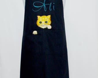 Cat Apron, Black Apron With Yellow Cat, Gift For Cat Lovers, Custom Personalize With Name, No Shipping Fee, Ready To Ship TODAY, AGFT 995