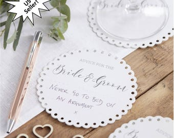 Wedding Coasters, Advice for the Bride and Groom, Table Decorations, Keepsakes, Wishes, Marriage Advice, Paper drink coasters, 20CT