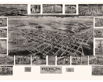 Berlin, Somerset County, Pennsylvania. Antique Birdseye Map; 1905
