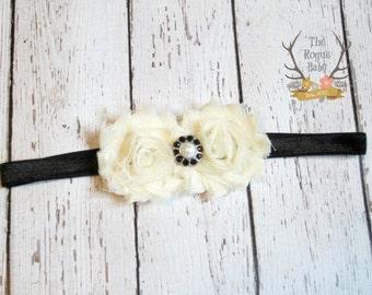 Black Cream Petite Baby Headband Ivory Pearl Rhinestone -  Flower Girl - Newborn Preemie Baby Toddler Girls Adult Wedding