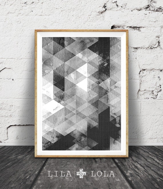 Black and White Wall Art, Geometric Scandinavian Print, Abstract Printable Poster, Black White Geometric, Scandinavian Decor, Modern Scandi