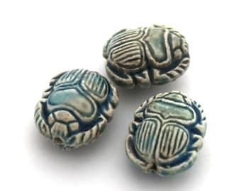 Scarab - Raku Ceramic Beads 12x14mm 2pc #828