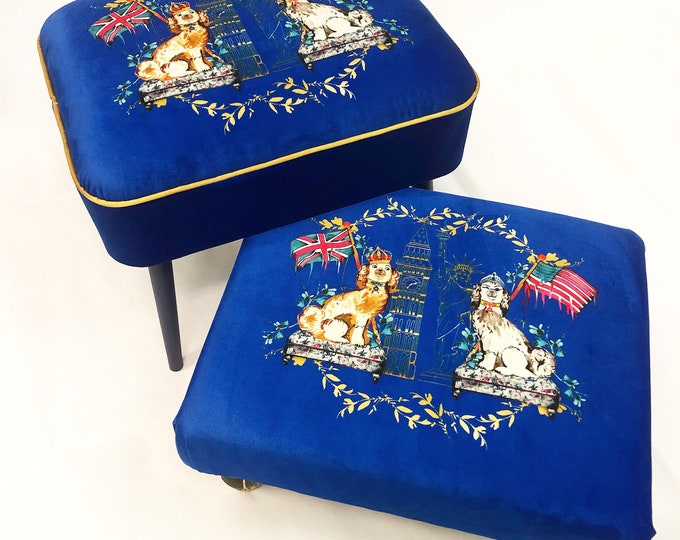 Exclusive commemorative royal wedding contemporary stool/Classic Footstool in velvet