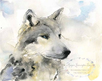 Winter Wolf - Original 8x10 Watercolor Wolf Painting