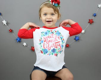Fourth of July Shirt - Fourth of July Shirt for Girl - Toddler 4th of July Shirt - 4th of July Raglan - Patriotic Raglan -Red White and Blue