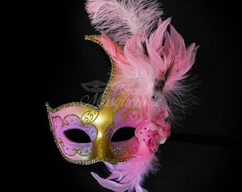 Masquerade Mask, Feather Masquerade Mask, Feather Masks, Mardi Gras Mask, Mardi Gras Masks, Masquerade Ball, Feather Mask [Gold | Pink]