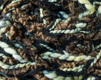 Choc mint - soft and textured, pale green with bold browns looping infinity scarf