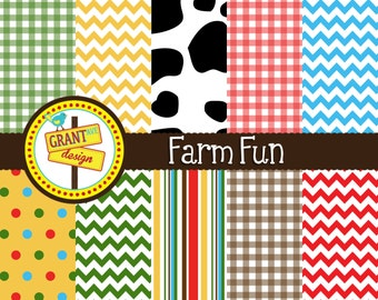 Farm Digital Papers - Farm Fun Backgrounds for Invitations, Card Design, Scrapbooking, and Web Design