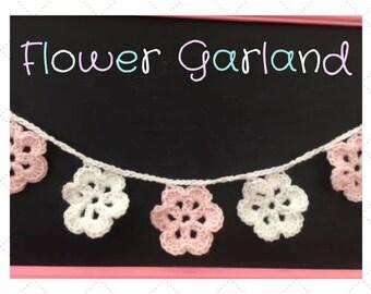 FREE SHIPPING,flower garland,crochet garland,crochet flower garland,spring banner,spring garland,birthday banner,mother's day banner