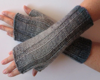 Gray Fingerless Gloves Knit Gloves Winter Gloves Long Fingerless Gloves (16)