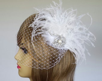 """BRIDAL HEADPIECE, Stunning Ostrich Bridal Headpiece Available With Birdcage Veil, Ostrich, Available In Other Colors (3 Pieces) - """"BRIANNA"""""""