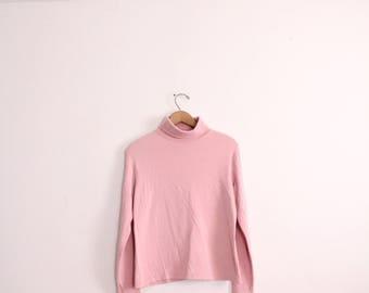 Pastel Pink 90s Turtleneck Shirt