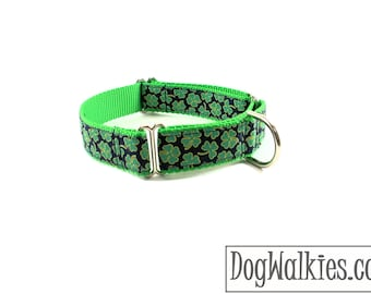 """Good Luck Clover Dog Collar - 1"""" (25mm) Wide - Martingale or Quick Release - St. Patrick's Day dog collars - your choice of size and style"""
