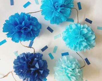 BLUE OMBRE mini pompom garland boy baby bridal shower engagment party prop wedding decorations turquoise bar mitzvah graduation baptism Eid