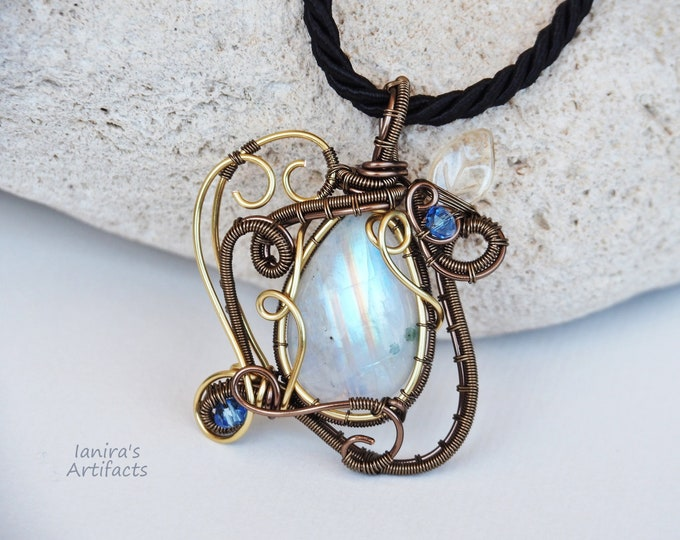 Featured listing image: Rainbow Moonstone wire wrapped pendant gemstone necklace Anniversary gift for her Handmade jewelry Love gift for women gold bronze antiqued