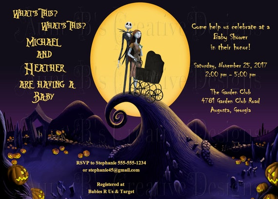 Nightmare before christmas baby shower invitation jack and filmwisefo