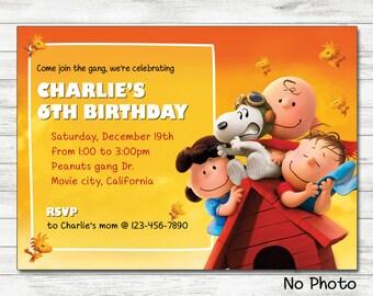 Peanuts Movie Invitation, Charlie Brown Invitation, Snoopy Printable Birthday Invitation